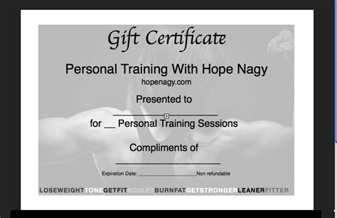Personal Trainer Gift Certificate Template by Nagy S Motivatehopestrength Health Fitness