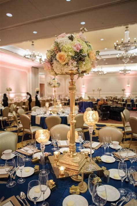 polished navy blue gold  blush wedding reception