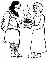 Jacob Esau Coloring Stew Give Bowl Netart sketch template