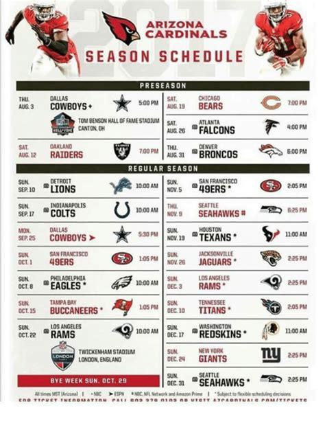 arizona cardinals season schedule preseason sat chicago