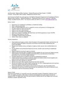 receptionist description for resume receptionist resume duties receptionist description