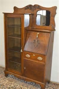 larkin antique 1900 39 s drop front tiger oak secretary desk side by side bookcase secretary