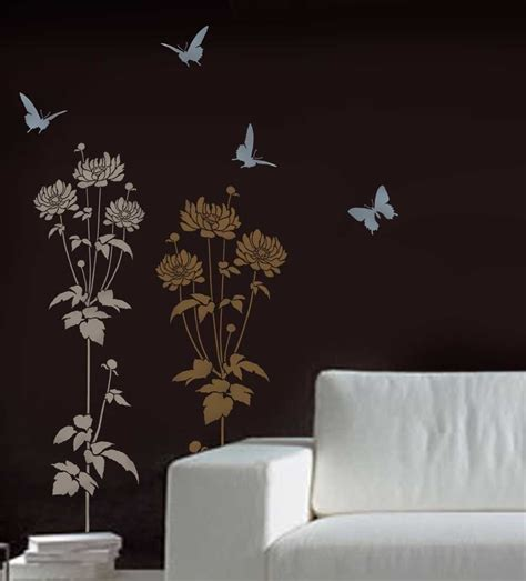 stencil designs for walls flower stencil garden anemone reusable stencils for easy