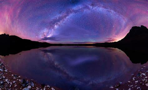 Wallpaper Galaxy Hills Lake Landscape