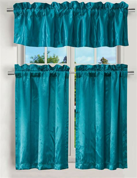 luxury pc kitchen curtain teal satin color curtain