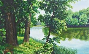 Painting, Forest, Lake, Artwork, Nature, Wallpapers, Hd, Desktop, And, Mobile, Backgrounds