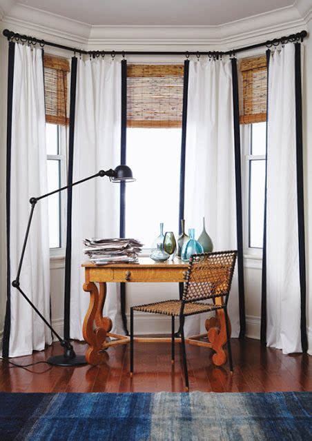 bamboo blinds  long curtains   turret room