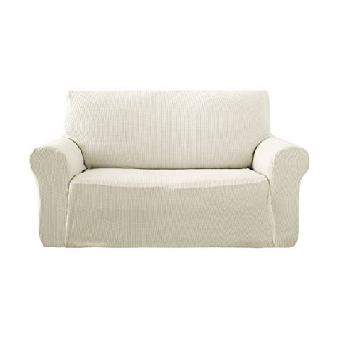 Small Loveseat Slipcover by Deconovo Jacquard Stretch Solid Color Small Checked
