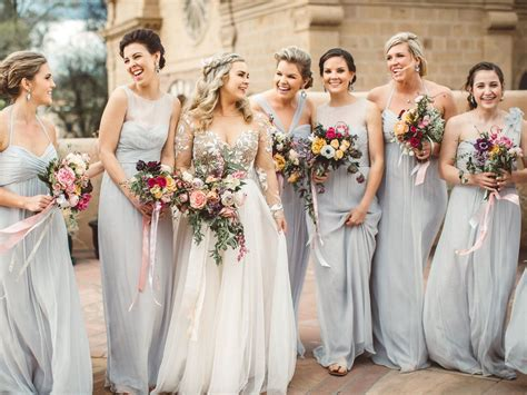 Gray Bridesmaid Dresses To Shop Now Wedding Favors Krispy Kreme Food South Indian Theme Ideas Wine To Give Guests Key Rings That Double As Place Cards Decorations For Church Pews