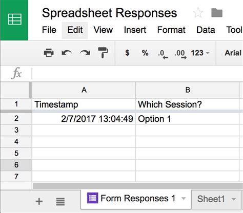 google form responses      spreadsheet