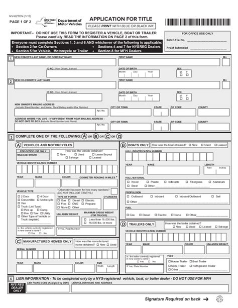 Nys Dmv Boat Registration Transfer by Form Mv 82ton Application For Title New York Free