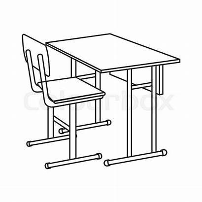 Desk Outline Icon Vector Illustration Cartoon Isolated