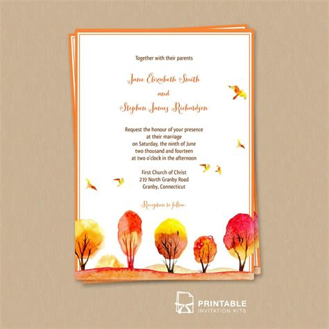 birthday invitation card template pdf free pdf watercolor autumn fall wedding