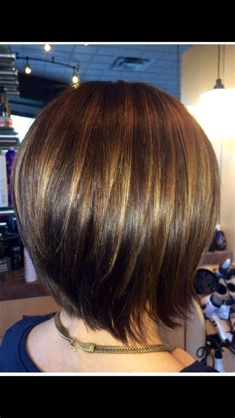 graduated bob with caramel highlights to compliment her