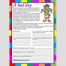 A Bad Day â Reading Comprehension, Writing, Conversation [5 Tasks] ((2 Pages)) ***editable