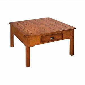 Country lodge square coffee table country lane furniture for Square country coffee table