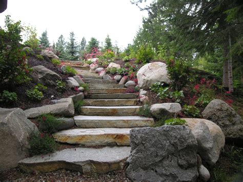 natural rock steps turfcare landscaping  sandpoint idaho