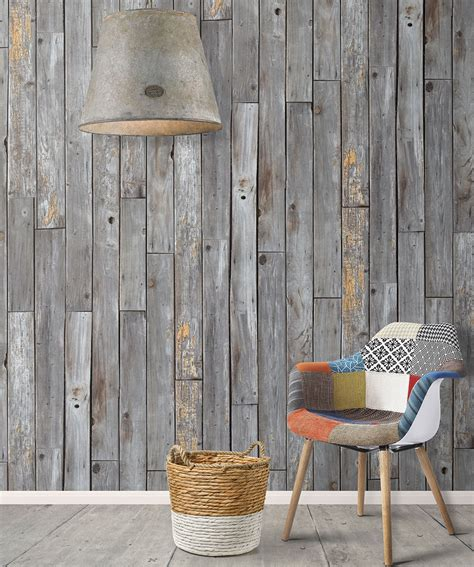 Rustic Wood Panels Wallpaper Gray Effect Milton