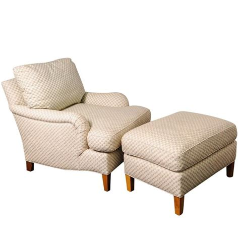 cream colored leather ottoman club chair and ottoman with star pattern cream