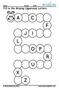 missing alphabet  printable  worksheets kids