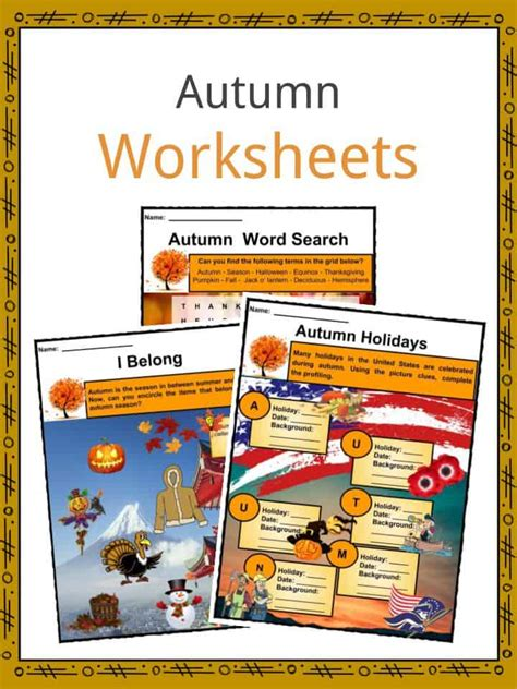 autumn facts worksheets information key