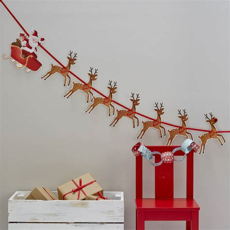 diy paper sleigh kids reindeer and santa sleigh bunting by