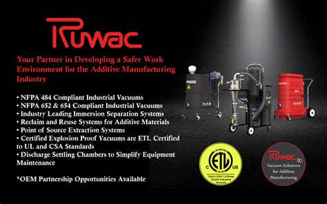 additive manufacturing industrial vacuum systems ruwac usa