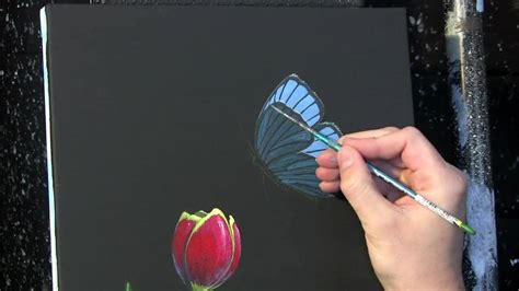 tulip  butterfly time lapse painting acrylic painting
