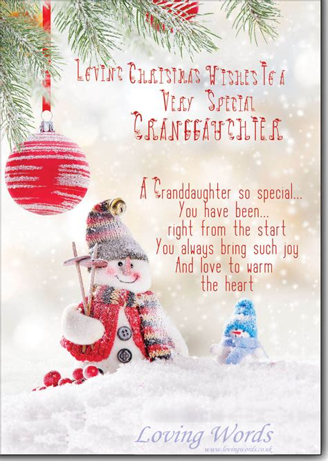 christmas wishes special granddaughter greeting cards  loving words