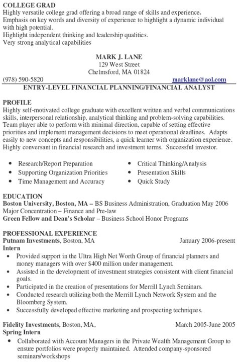 financial advisor resume sle experience resumes
