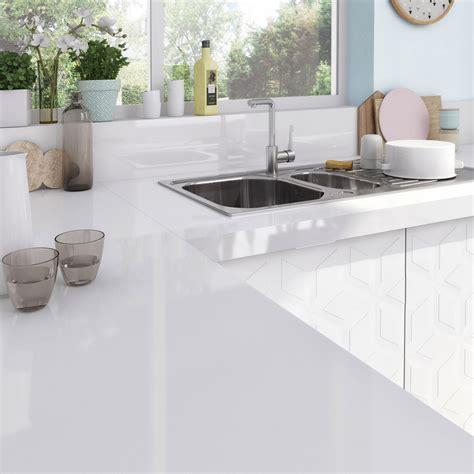 Plan de travail stratifié Blanc Brillant L 315 x P 65 cm