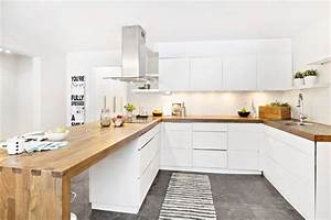 Idees d amenagement d39interieur en bois mobilier et for Idee deco cuisine avec cuisine blanche et grise et bois
