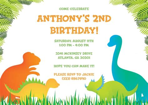 invitation party templates 17 dinosaur birthday invitations how to sample templates