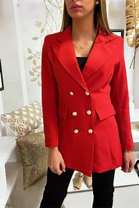Veste Blazer Rouge Pour Femme