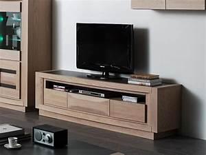 Meuble Tv En Chene : meuble tv marina en ch ne avec niche large 1 ou 3 tiroirs meubles bois massif ~ Teatrodelosmanantiales.com Idées de Décoration