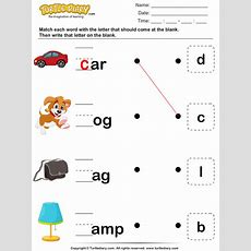 Match Letter To Make A Word And Fill In The Blank Worksheet  Turtle Diary