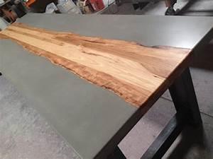 Table Beton Bois : tables de b ton et le bois pieds table pinterest ~ Premium-room.com Idées de Décoration