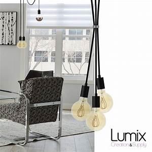 Suspension 3 Lampes : suspension 3 lampes style moderne metal noir avec c ble ~ Melissatoandfro.com Idées de Décoration