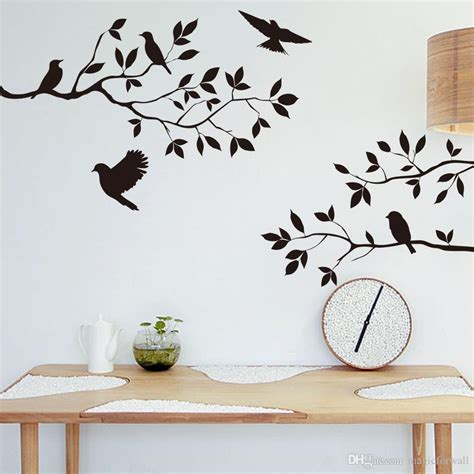 Black Bird And Tree Branch Leaves Wall Sticker Decal