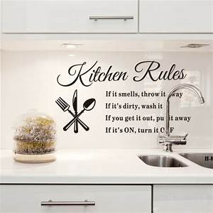deco mur cuisine 50 idees pour un decor mural original With kitchen colors with white cabinets with sticker wall art quotes