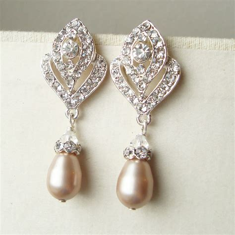 chagne pearl wedding earrings vintage style bridal