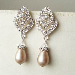 champagne pearl wedding earrings vintage style bridal With earrings for wedding dress