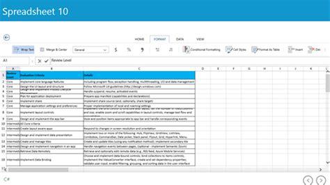 spreadsheet 10 for windows 10 pc free