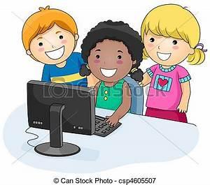 Stock de ilustraciones de computadora, niños - A, Small ...