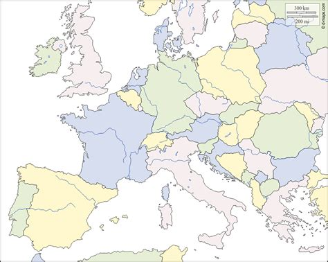 Europe Carte Vierge Gratuite by Europe Occidentale Et Centrale Carte G 233 Ographique Gratuite