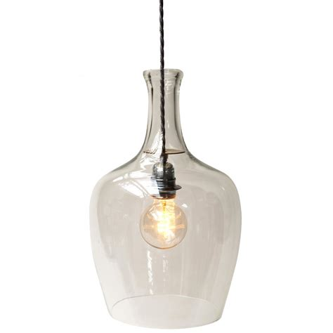 clear glass pendant light made from demijohn bottle