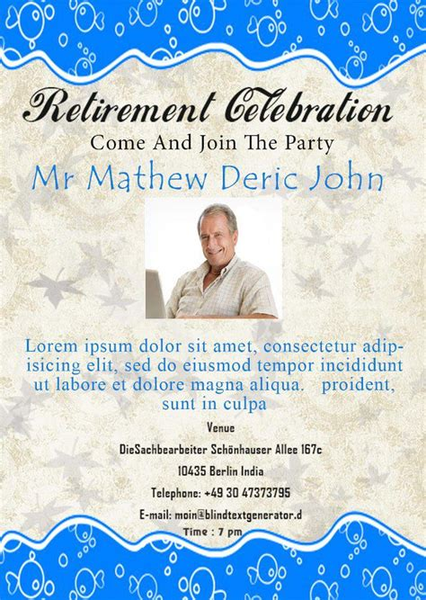 Retirement Party Flyer Templates  Demplates. Bill Payment Schedule Template. Ms Word 2013 Download Free Template. Quick Reference Guides Templates. Personal Business Cards For Job Seekers Template. Wedding Reception Programs Samples Template. Turn Over Letter Template. Microsoft Word Work Order Template. Covering Letters Uk