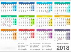 Kalender 2018 mit kw 2018 Calendar printable for Free