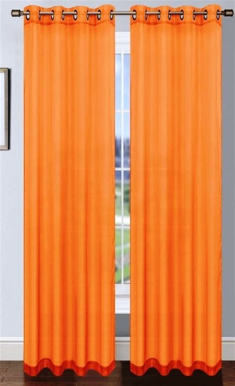 orange platinum sheer voile curtain with grommets moshells