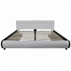 Lit 180 Cm : acheter lit de 180 cm avec cadre en led et 2 tiroirs en cuir blanc synth tique pas cher ~ Teatrodelosmanantiales.com Idées de Décoration